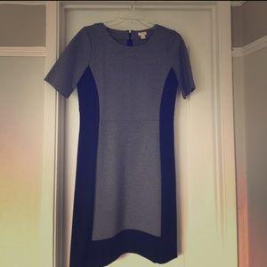 J. Crew ponte black gray short sleeve dress